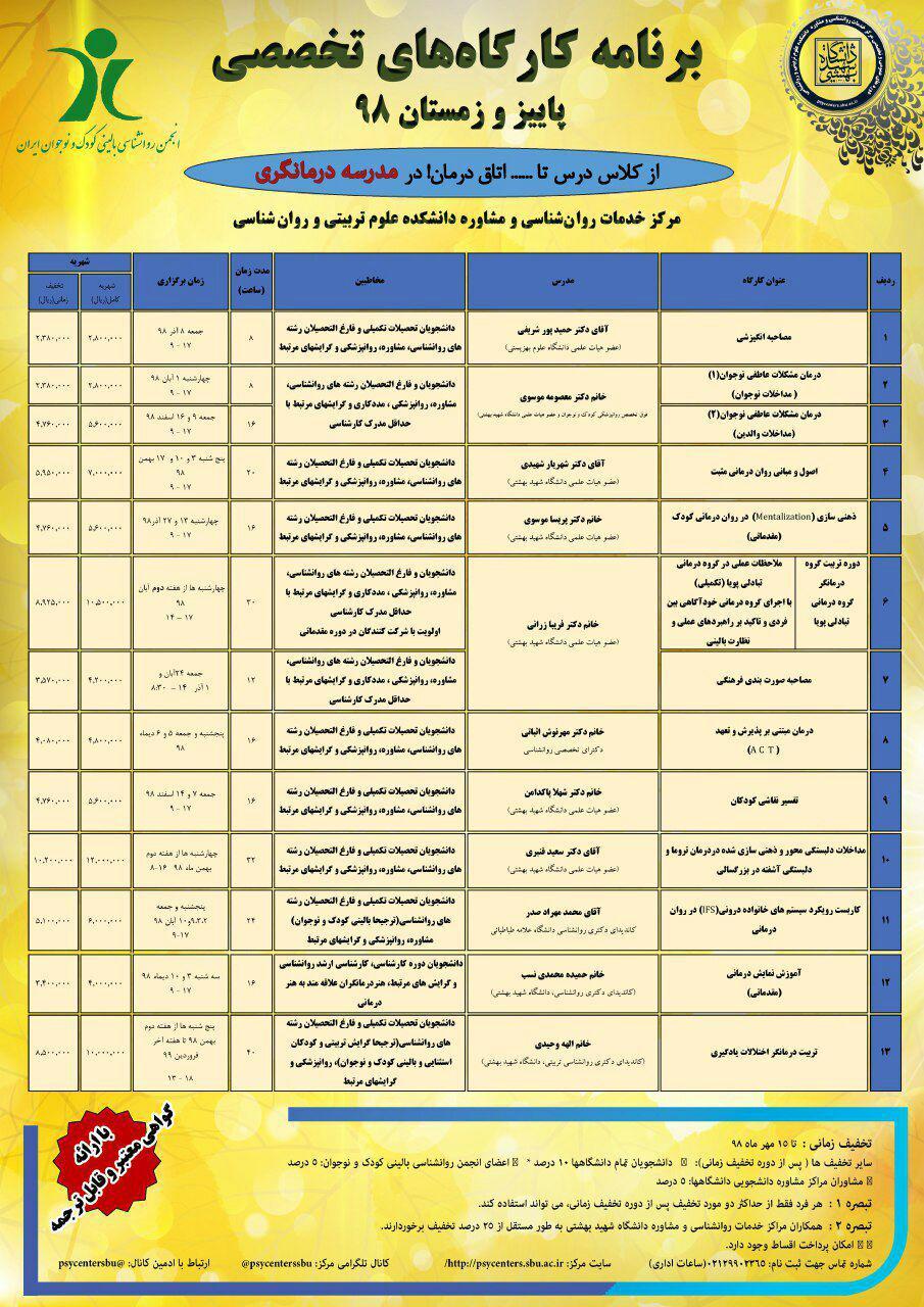 کارگاههای تخصصی - دانشگاه شهید بهشتی - کلینیک مهرآیین